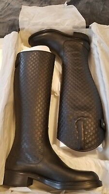 8f96dac76949e Gucci Women s Black Guccissima Leather Riding Boots with Zipper 296161 1000