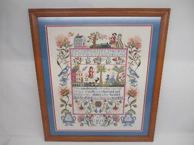 Old 1995 NEEDLEPOINT PICTURE WALL HANGING BIRDS FLOWERS ABC's People House