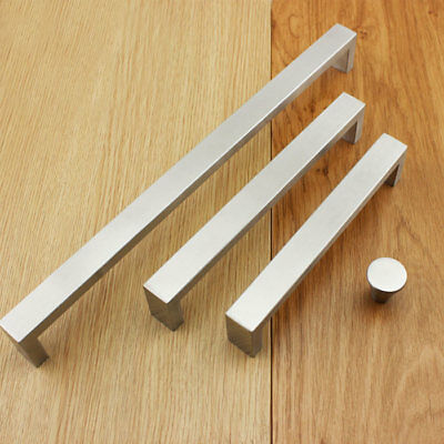 Kitchen handles cabinet drawer pulls Square 304 Stainless steel cupboard knobs