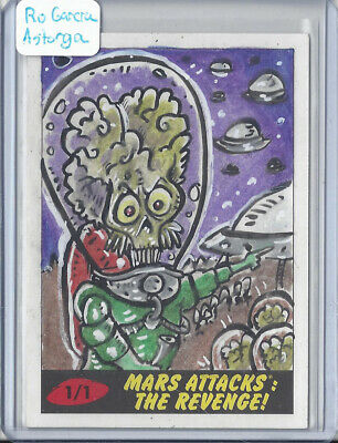 2017 Topps Mars Attacks The Revenge 1/1 Sketch Card by Ro García Astorga Smetcho