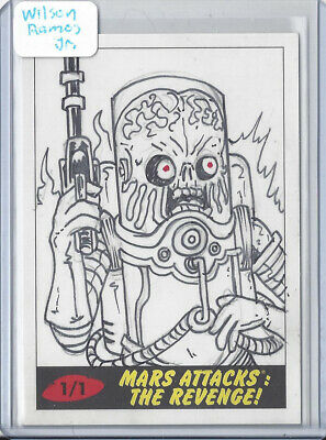 2017 Topps Mars Attacks The Revenge 1/1 Sketch Card by Wilson Ramos Jr - Martian