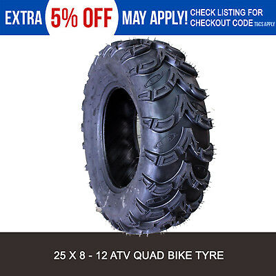 6 ply 25x8-12  Knobby Tubeless Tire/Tyre Yamaha Grizzly 350 450 550 700 UTV ATV