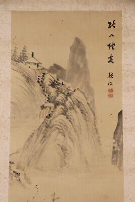 JAPANESE HANGING SCROLL ART Painting  Asian antique  #E6240