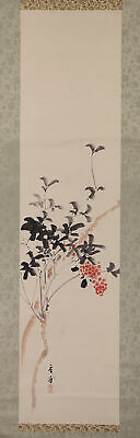 """JAPANESE HANGING SCROLL ART Painting """"Flower"""" Asian antique  #E6234"""