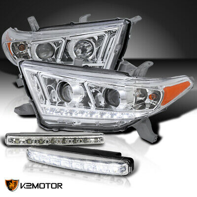 For 2011-2013 Highlander Clear Projector SMD Headlights+8 White LED Lamps