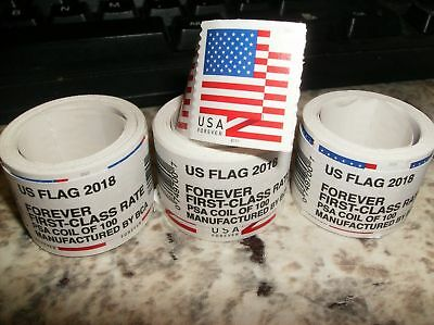 USPS FOREVER STAMPS - American Flag - roll of 100 First Class self-adhesive