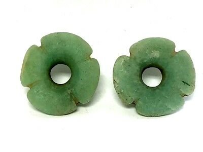 Pre-Columbian Mayan  Translucent  Jade  Waterlily Piercing Accessory  Ear Spools
