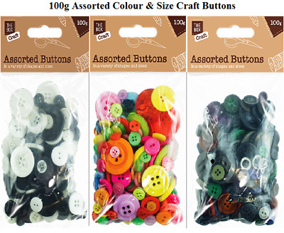 Mixed Buttons Colours Assorted Shapes Sizes Art Craft Sewing Button 100g