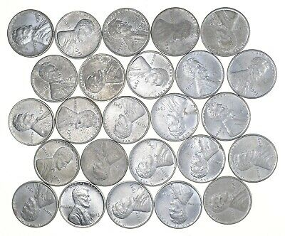 1/2 Roll 1943 Lincoln Wheat STEEL Cent - Beautiful Mostly BU Unc 25 Coins *680
