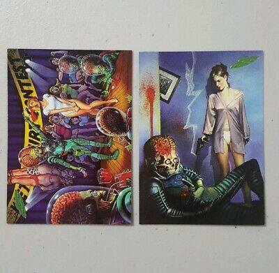 Topps MARS ATTACKS 1994 Trading Cards #80 and #86 The Invasion Begins