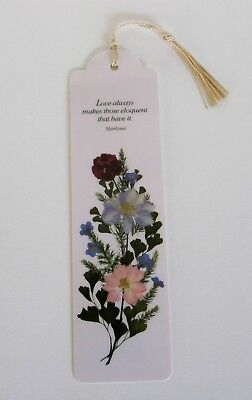 Pressed Dried Flowers Flower Ginko Leaves Bookmark Love Poem Woven Tassel