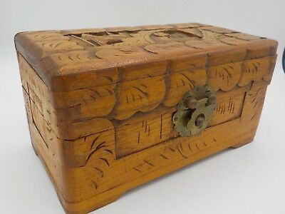 Antique Vintage Asian Hand Carved Box Luck Wood Chest China Export Hong Kong