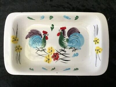 Vintage Small Dish JAPAN Colourful Roosters, 1940's 50's Gorgeous colours!
