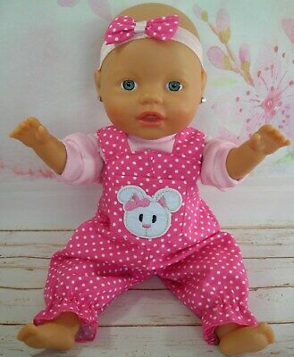 Dolls clothes for 32cm Baby Born/Baby Alive Doll~ BUNNY RABBIT PINK SPOT OVERALL