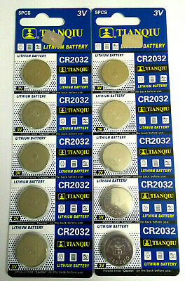 10 Pcs CR2032 3v Coin Cell Lithium Batteries 220mAh