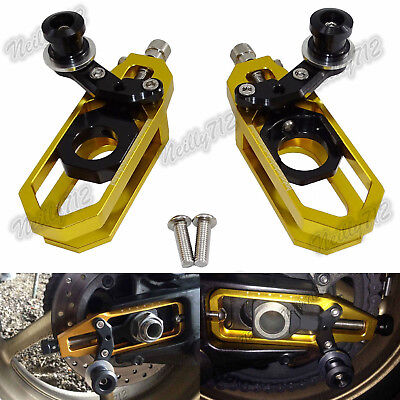 Chain Adjusters Tensioner with Spool Slider Gold For 2006-2016 YAMAHA YZF R6 R6R