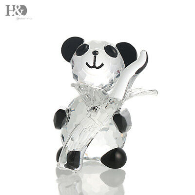 Crystal Panda Figurine Glass Paperweight Cute Chinese Panda Collectible Ornament