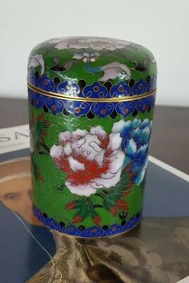 Chinese Brass Enamel Floral Cloisonne Lidded Tobacco Jar Tea Caddy Container