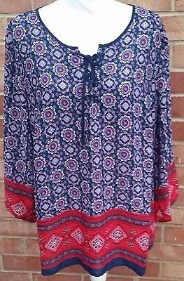 55cc6bc24f5 ZAC   RACHEL Woman 2X Plus Size Red White Blue Boho Blouse NWT ...