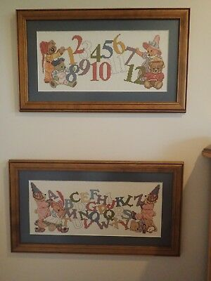 2 Framed Childrens Embroidery Cross Stitch NeedlePoint.Alphabet & Numbers, Bears