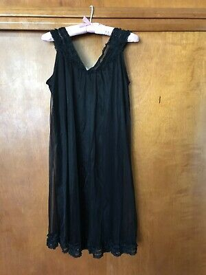 Vintage knee-length black nylon lacy double-layered babydoll nightie size med
