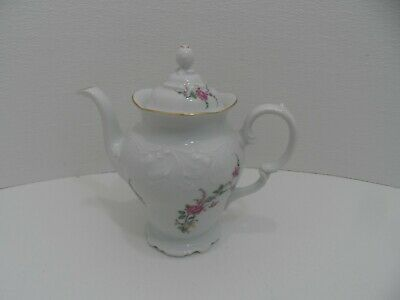 "ROYAL KENT POLAND Porcelain Teapot Pink Rose Gold Trim 9.5"" - EC"