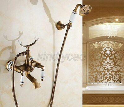 Antique Brass Wall Mounted Bathroom Tub Faucet Sink Mixer Tap Hand Shower Ktf308
