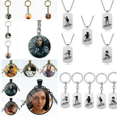 Movie Alita Battle Angel Action Figure Toy Metal Necklace Keychain Keyring