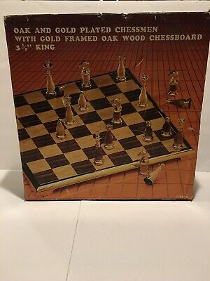 Vintage Mid Century OAK Wooden Wood & Gold Plated  Chessmen with gold framed