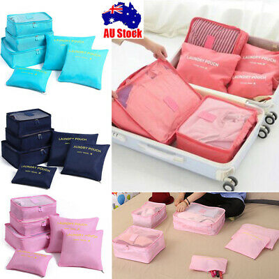 6Pcs Packing Cubes Travel Pouch Luggage Organiser Clothes Suitcase Storage Bags,