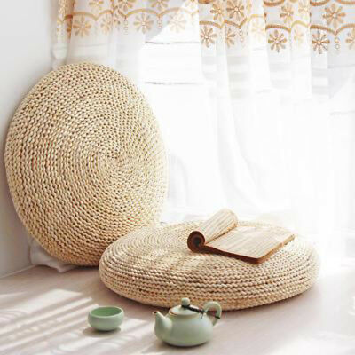 Table & Sofa Linens Round Natural Straw Weave Handmade Pillow Floor Yoga Chair Seat Mat Tatami Cushion Thicken Meditation Window Cushion