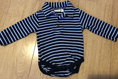 Baby Boys JoJo Maman Bebe Collared Vest Top Age 6-12 Months (navy blue Striped)