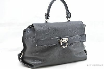 ec755b5b853 Authentic Salvatore Ferragamo Gancini Sofia Hand Bag Leather Black 61375