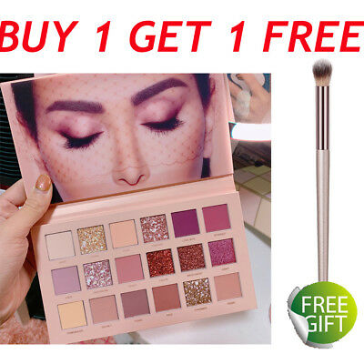 Nude Matte Shimmer Eyeshadow Palette Eye Shadows 18 Colors Makeup Cosmetic Brush