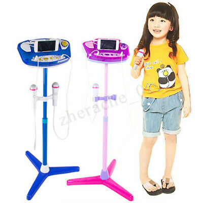 Kids Karaoke Machine With 2 Microphones Adjustable Stand Music Play Toys Set