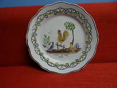 Antique french  Dutch Delft Pottery Polychrome Plate Dish PIERRE LE COQ 1779