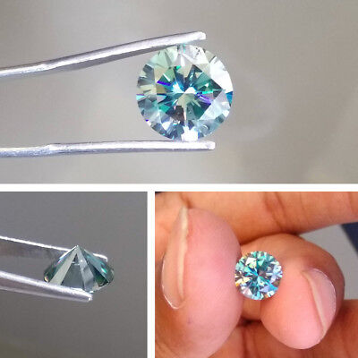 1.51 CT 7.9 MM Intense Blue Round Excellent Diamond Cut Real Moissanite 4 Ring