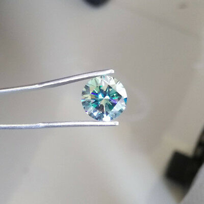 1.72 CT 7.9 MM Intense Blue Round Excellent Diamond Cut Real Moissanite 4 Ring