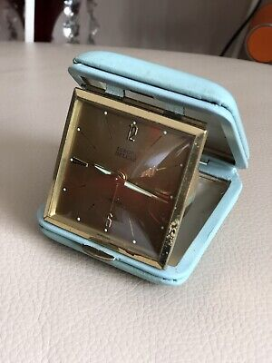 Travel Alarm Clock Vintage 1970s Folding Blue Leather Europa Deluxe 7 Jewels
