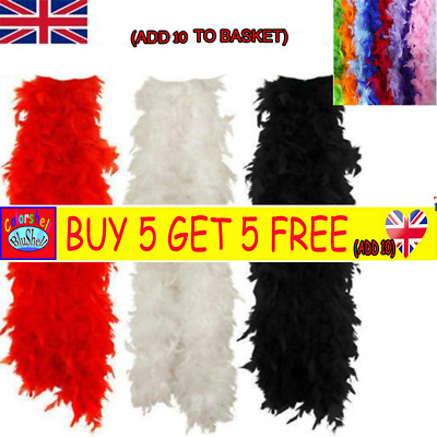 2M Black Feather Boa Hen Night Parties Deluxe Show Girl Fancy Dress 15 Colors