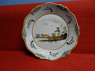 Antique french Dutch Delft Pottery Polychrome Plate Dish  MAN & RABBIT