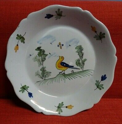 Antique french Dutch Delft Pottery Polychrome Plate Dish  BIRD & butterfly