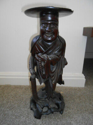 Wooden Chinaman / Monk Carving / Statue. Removable hat