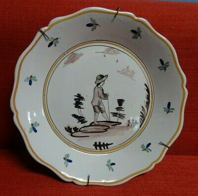 Antique french Dutch Delft Pottery Polychrome Plate Dish  MAN AND FLOWERS