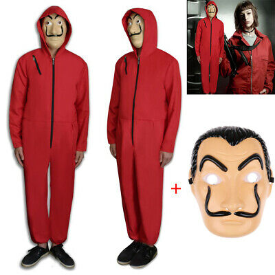 Salvador Dali La Casa De Papel Money Heist Red Jumpsuit Costume & Mask Cosplay