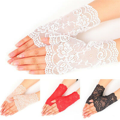 White Women Bridal Wedding Party Dressy Lace Fingerless Gloves MittensZP