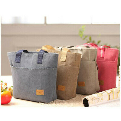 Portable Cotton Linen Insulated Thermal Cooler Lunch Box Carry Tote Picnic Bag B
