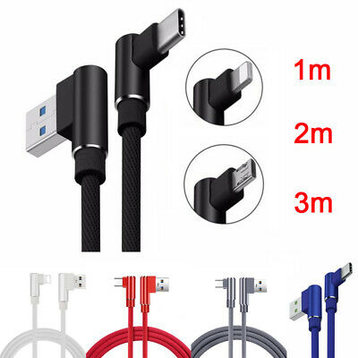 90° Elbow Braided USB Data Sync Fast Charging Charger Cable For iPhone Android