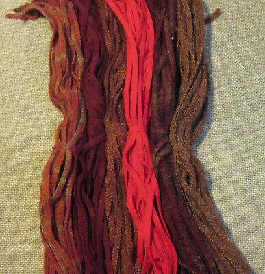 #6 SIX RUSTIC REDS 150 Wool Strips for Primitive Rug Hooking