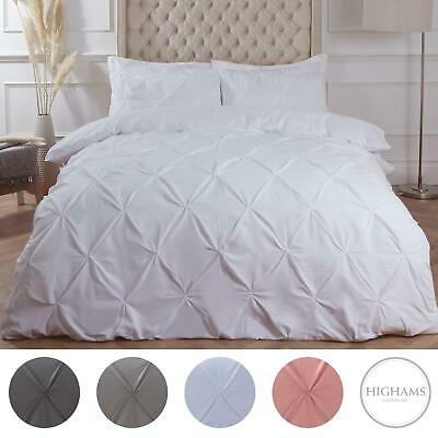 Highams Pintuck Pleat Duvet Cover with Pillowcase Bedding Set White From £11.99